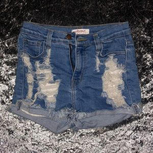 Distressed / ripped jean shorts
